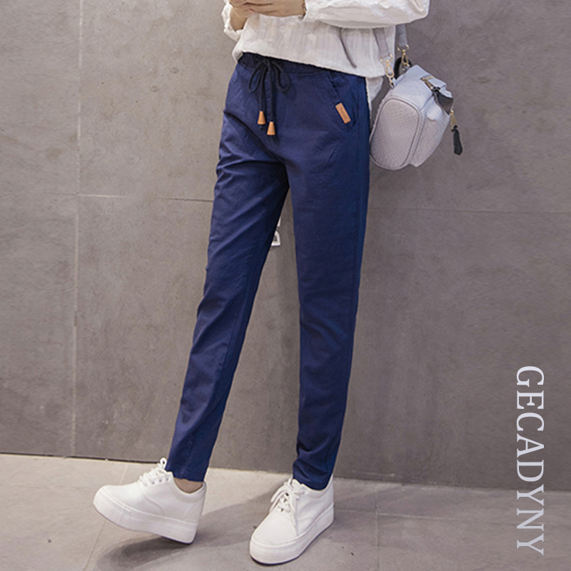 New women cotton linen   pants   2018 plus size S-3XL women summer harem   capris   solid color elastic mid waist   pants   pencil trousers