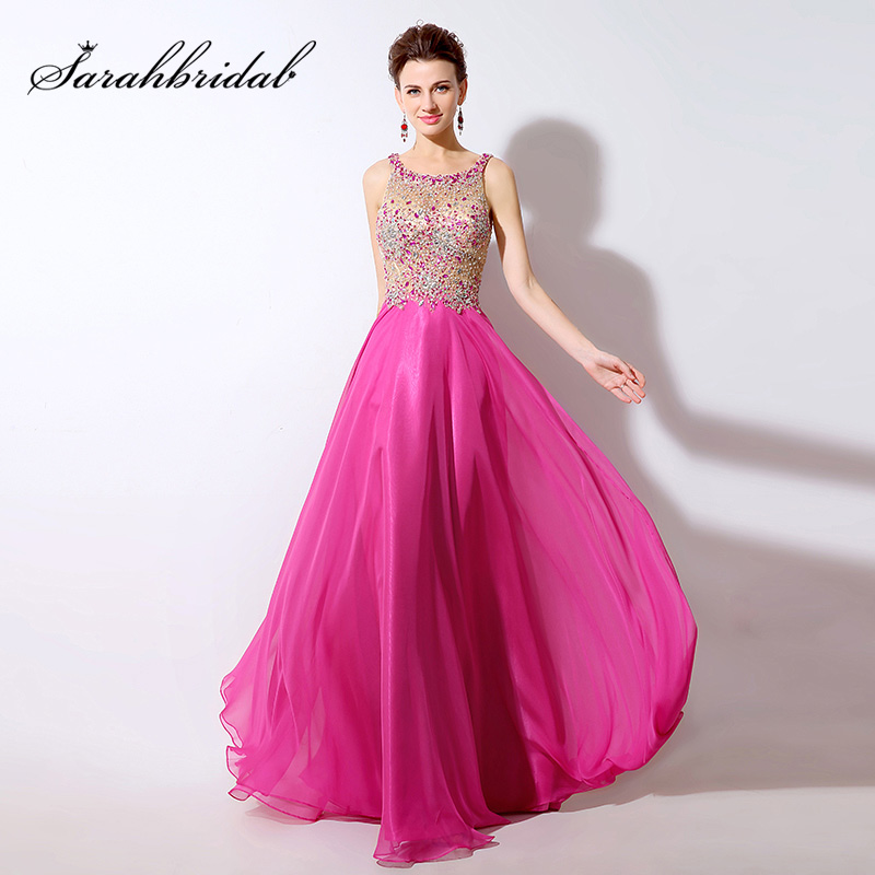 Sexy Illusion Crystal Sequined Bodice Long Evening Dresses Fuchsia Chiffon A Line Sleeveless Beauty Women Prom Party Gowns LX043