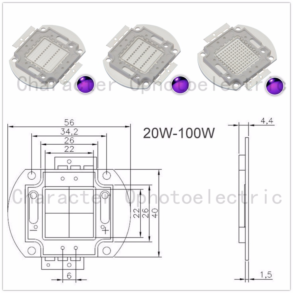 <font><b>UV</b></font> <font><b>LED</b></font> Ultraviolet Bulbs Lamp Chips 365nm 375nm <font><b>380nm</b></font> 385nm 395nm 400nm 405nm 3W 5W 10W 20W 30W 50W 100W High Power Light