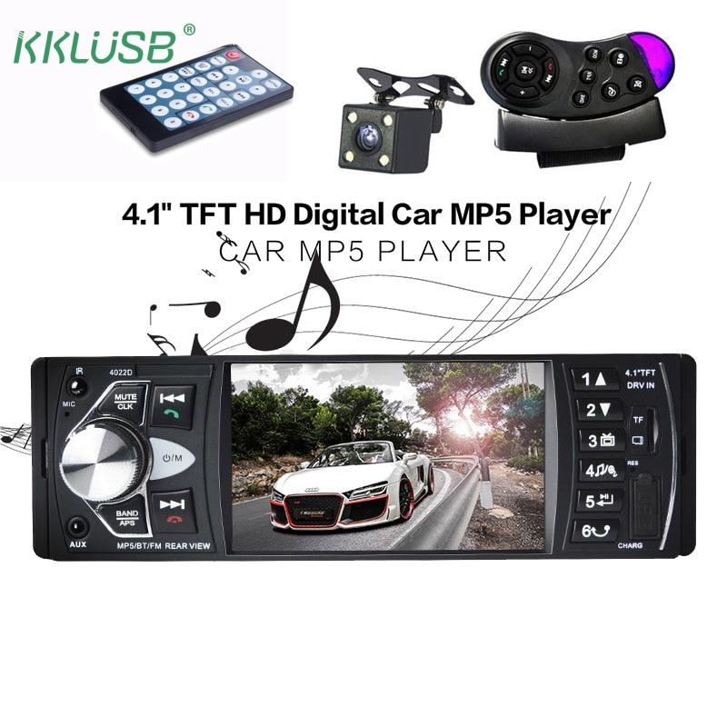 Автомобиль Радио Авто аудио стерео 4.1 дюймов 1 DIN FM Bluetooth 12 В Поддержка заднего вида Камера USB FM MP4 mp5 USB SD TF Авто Радио 4022d