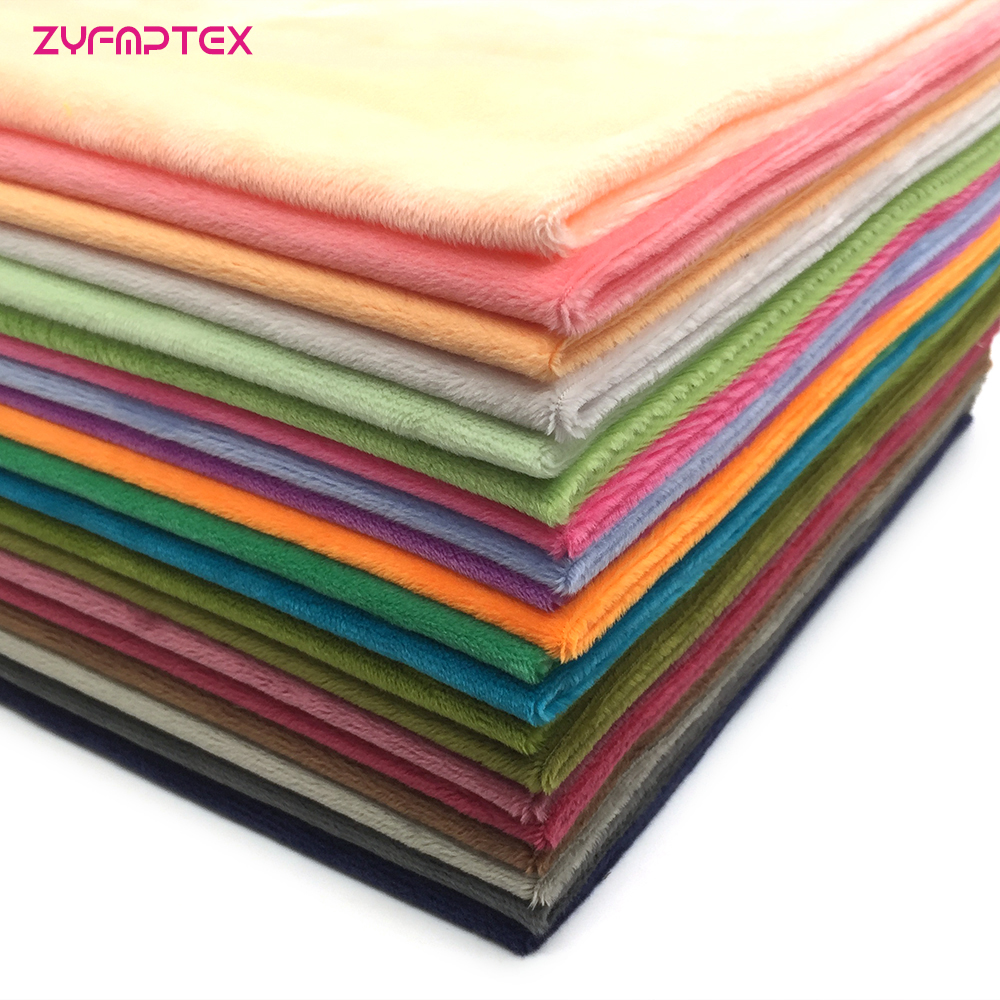 ZYFMPTEX New Arrival 30 Colors Polyester Plush Fabric,Patchwork Cloth,DIY Sewing Quilting Fat Quarters Material For Baby&Child