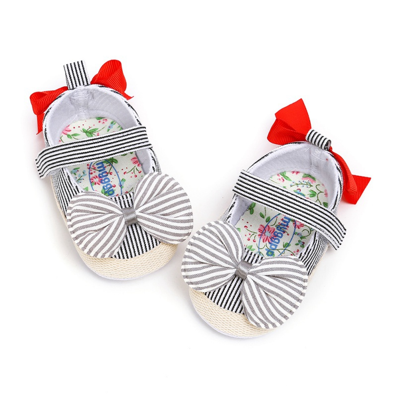 Toddler Soft Soled First Walkers Big BowKnot Girls Shoes Newborn Striped Toddler Baby Shoes Casual Sneakers Princess Shoes