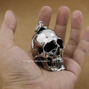 Image 4 - LINSION ogromny ciężki stal nierdzewna 316L polerowany wisiorek z czaszką mężczyzna Biker Rock Punk Style AJ001 naszyjnik ze stali 24 cali