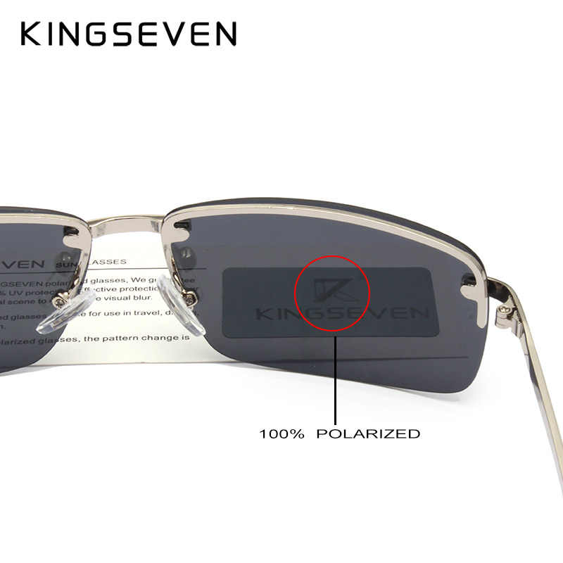 b4808881fc ... KINGSEVEN 2019 Gafas de sol rectangulares de viaje para hombre Gafas de sol  polarizadas sin montura ...