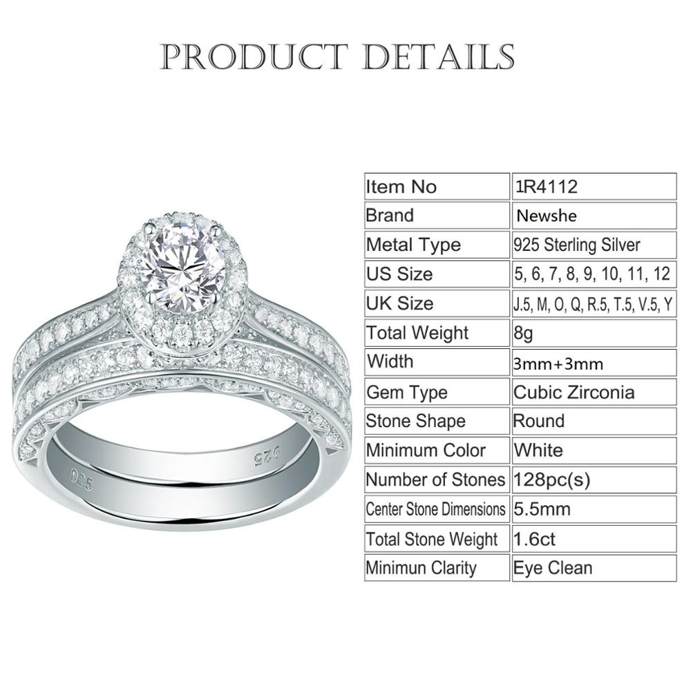 Classic 2 Pcs 925 Sterling Silver 1.6 Ct Round AAA CZ Engagement Rings