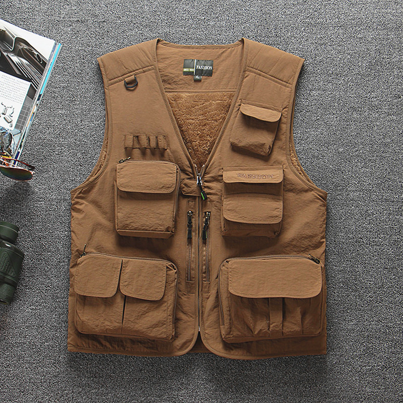 16 Pocket large size summer thin winter thick fleece warm fishing vest men photography tactical waistcoat sleeveless jacket tops pocket