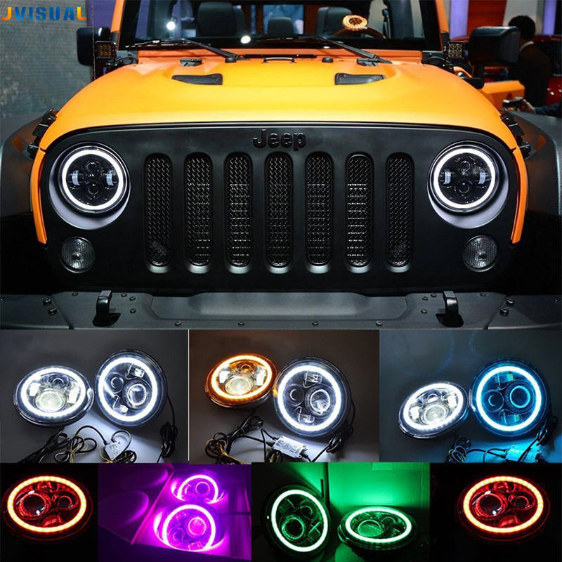 цена на 7 inch Car Led Headlight 4x4 Off road Led H4 Hi/Lo Beam led Auto Headlight Kit for Jeep Wrangler JK CJ Motorcycle