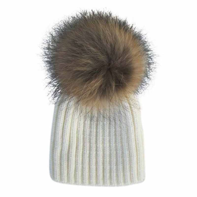 762c02631 2017 Baby Lovely Beanie Raccoon Fur Pom Bobble Kids Woolen Hat Kids Warm  Crochet Hats Kawaii Baby Winter Hat for Girls Boys