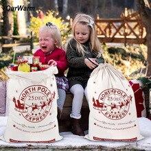 OurWarm 1 шт. Рождественский мешок Санты Олень Шнурок Холст Санта мешок год Рождественские украшения для дома чулки подарочная сумка
