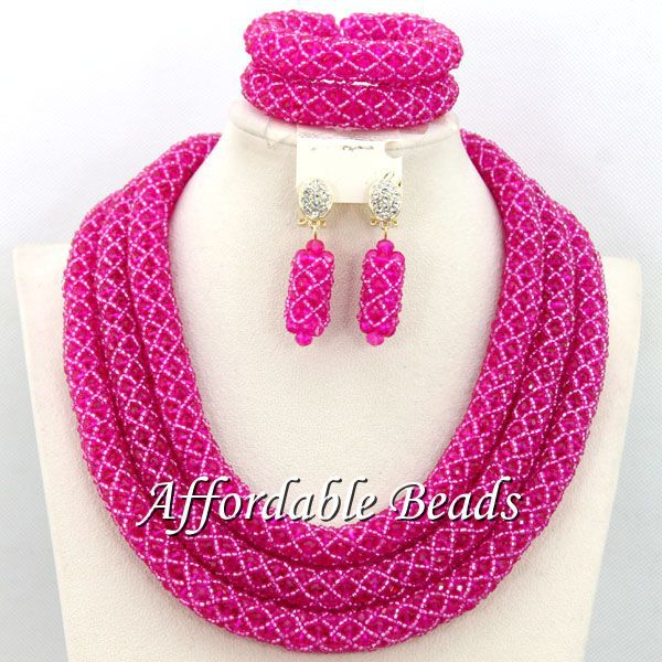 Fuschia African Fashion Jewelry Sets Hot Sale Wedding Jewelry Set Handmade Item Free Shipping BN279 luxury african dubai jewelry sets hot wedding beads set handmade item wholesale free shipping ncd022