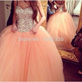 Real Photo Gorgeous Sparkly Rhinestone Crystal Puffy Tulle Peach Balls Gown Evening Gowns 2017 Engagement Dress