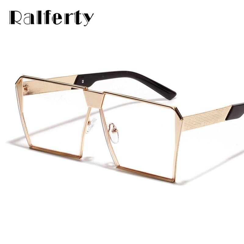 Ralferty Vintage Oversized Square Glasses Frames Women Men Retro Gold Metal Eyeglasses Optical Frame Hip Hop Eyewear Clear A1115