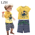Children's Clothing Sets For Summer Beach Set Baby Boy 2pcs Suit Octopods Printing Cotton T-shirt+Stripe Shorts Boys Clothes Set