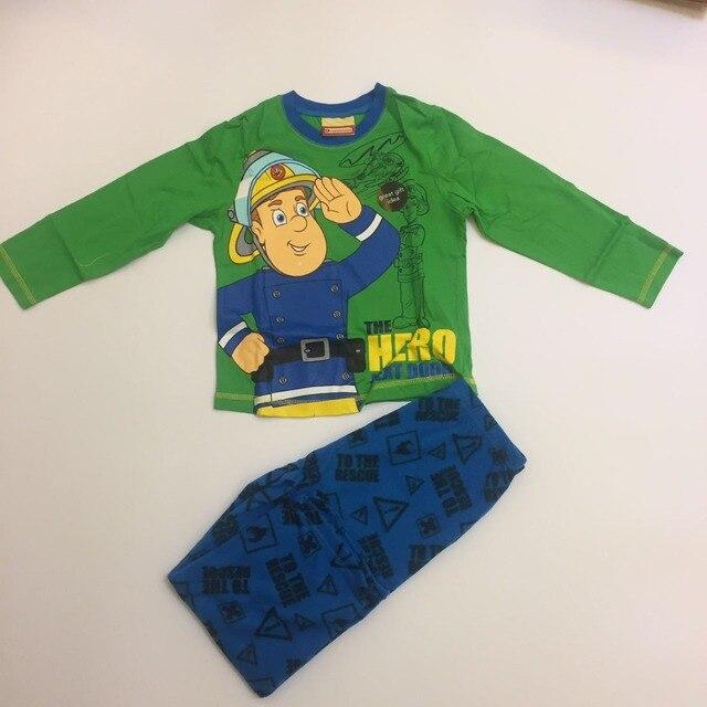 Новое прибытие 2016 Пожарный Сэм одежда наборы СЭМ весна пижамы осенняя мода футболка коробка хлопка мальчик пижамы 1 компл.