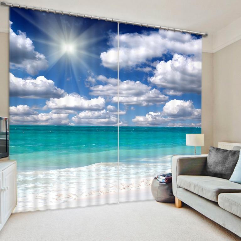 Decoration Home Living Room Bedroom Curtains Custom 3d Photo Curtains Beautiful Sky Beach Curtains 3d Stereoscopic Curtains