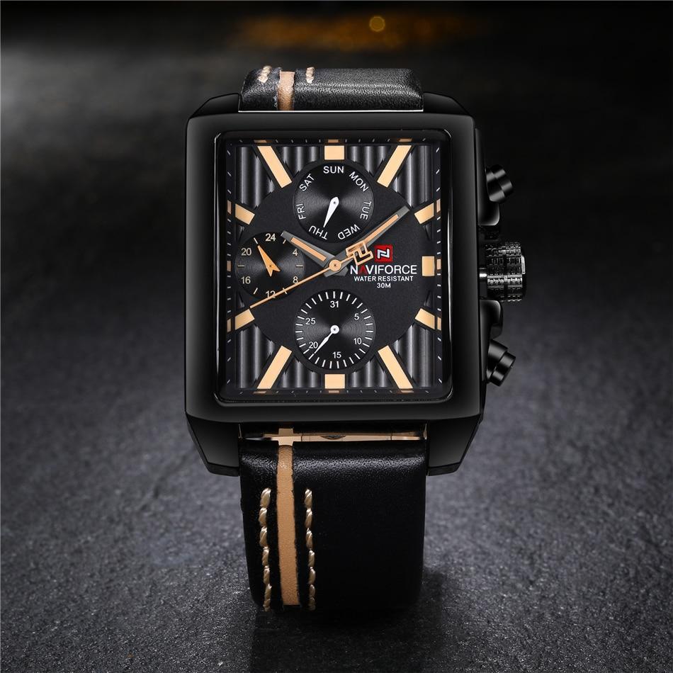 Naviforce NF9111 Men's Square Casual Leather Quartz Watch