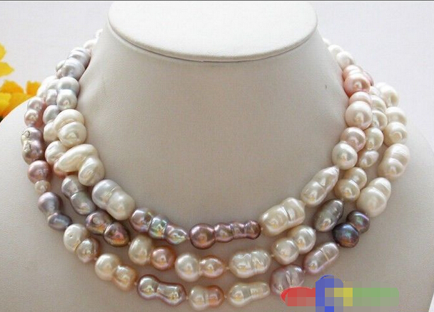 """HOT## Wholesale > >>> 50"""" 25mm pink lavender baroque double freshwater cultured pearl necklace"""