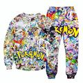 new cartoon 3D tracksuit anime pokemon pikachu print sweatshirt + joggers 2pcs set pullovers joggers suits drop ship
