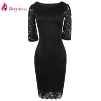 Elegant Women Evening Party Half Sleeve Full Lace Bodycon Pencil Dress Stretchy Knee Length Sheath Casual
