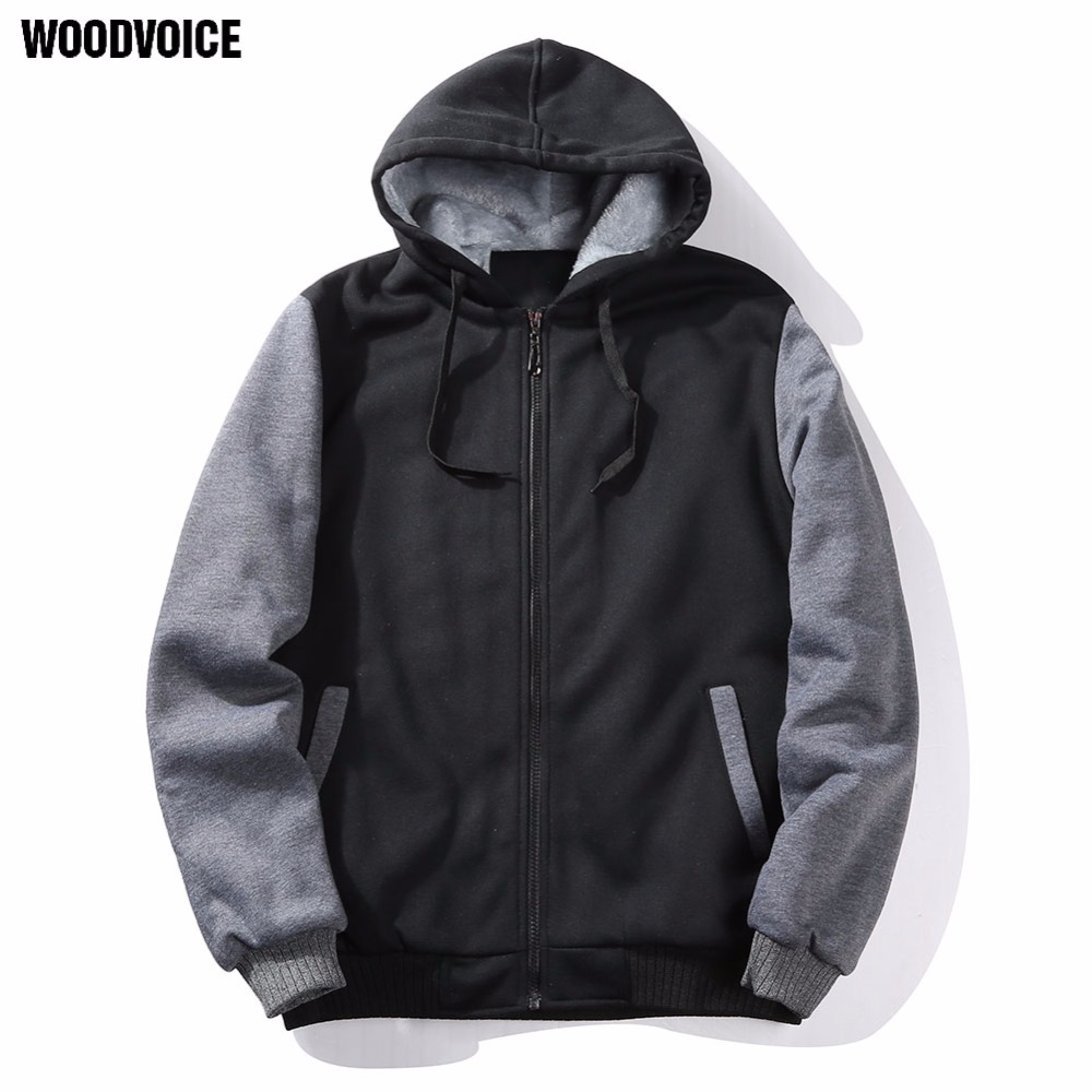 Woodvoice Brand 2017 New Men Fashion hoodies Mens Casual Cotton Cardigan Streetwear Hooded Pullover fleece lined US/Euro size 02