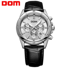 Dom multifunctional mens watches luminous leather-based sheet timep waterproof sports activities informal male watch M-510L