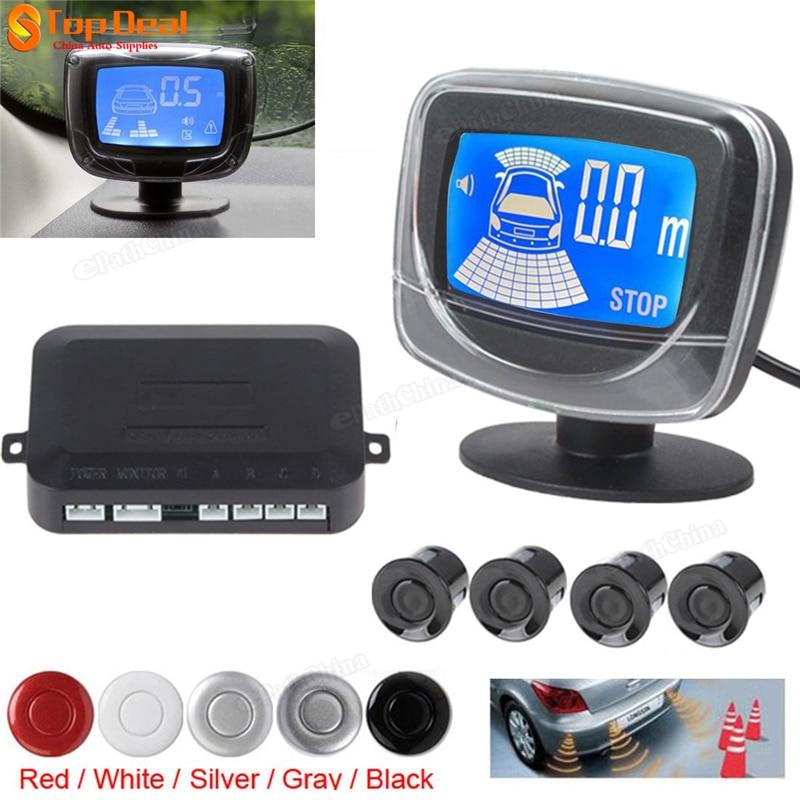 New 4 Parking Sensors Weatherproof LCD Dual CPU Reverse Parking Sensor Kit Reverse Backup font b