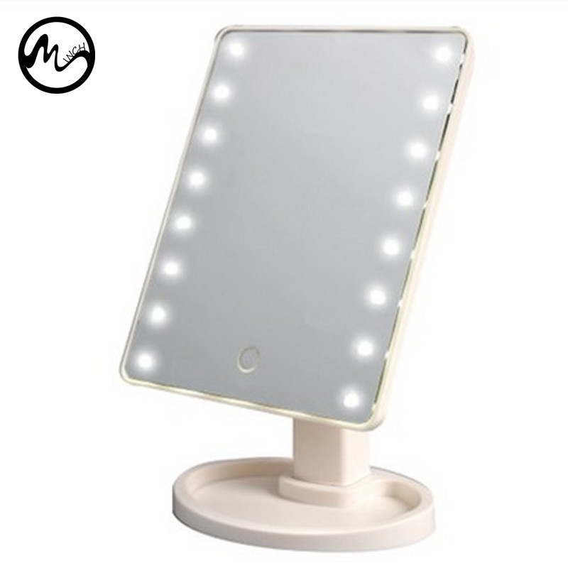 MINCH LED Touch Screen Makeup Mirror Professional Beauty Vanity Mirror LED Lights Adjustable Countertop 180 Degree Rotating