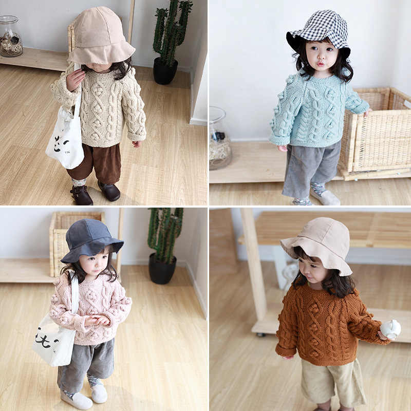 86107ffee ... Pom Pom Kids Clothes Spring Baby Sweater Knitted Hooded Boys Girls  Toddler Solid Sweater Handmade Baby ...