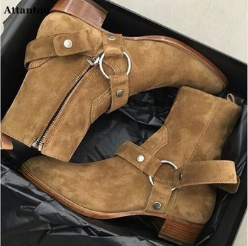 Attantou Tan/Black Suede Leather Chains Harness Men Boots Stacked Heel Anke Boots Side Zip Men Fashion Chelsea Boots Men Shoes