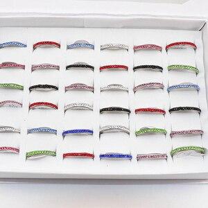 Image 1 - خاتم عصري للنساء مكون من 50 قطعة من أحجار الراين من الفولاذ المقاوم للصدأ متعدد الألوان للبيع بالجملة