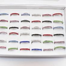 Atacado 50 pçs/lote multicolorido uma linha strass anéis de aço inoxidável moda feminina anel