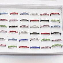Toptan 50 adet/grup Renkli Bir Satır Rhinestones Paslanmaz Çelik Yüzük Kadın Moda Yüzük