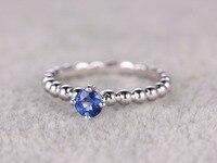 MYRAY 14k White Gold Natural Genuine 4 2mm Round Blue Sapphire Gemstone Engagement Ring Wedding