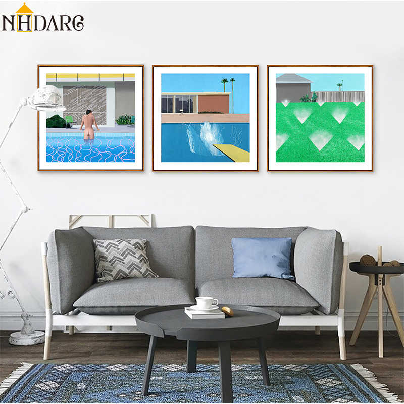 Fresh with swimming pool decoration painting, Nordic simple decoration Canvas Print Painting Poster Art Wall Picture Home Decor