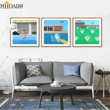 Fresh with swimming pool decoration painting, Nordic simple decoration Canvas Print Painting Poster Art Wall Picture Home Decor(China)