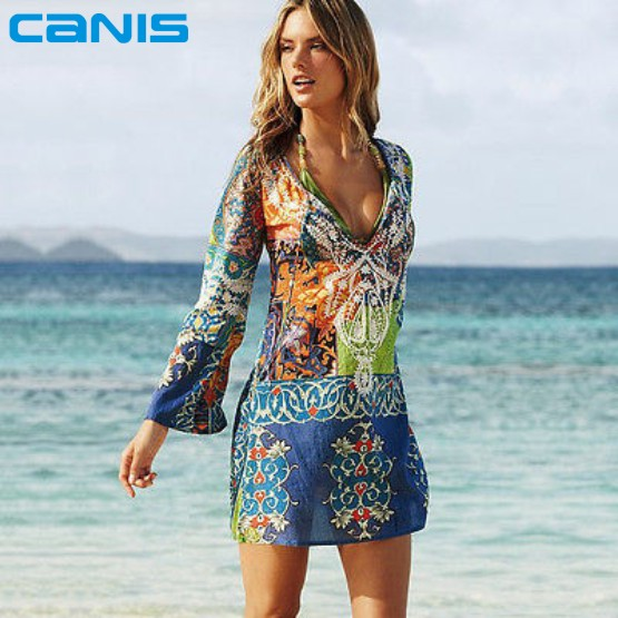 ad2df26e63c72 2016 Summer Style Women Sexy Swimsuit Cover Up Long Sleeve Bikini Cover Ups  Chiffon Flower Beach