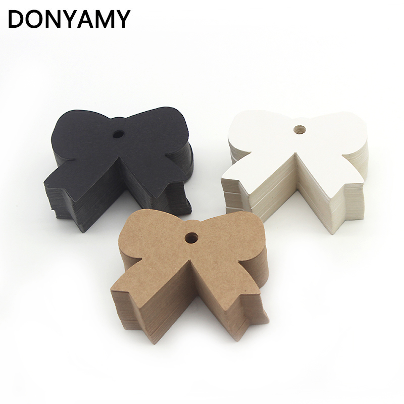 DONYAMY 50pcs Kraft Paper White Black Gift Tags Party Accessories DIY Baby Shower Party Vintage Cake Decoration