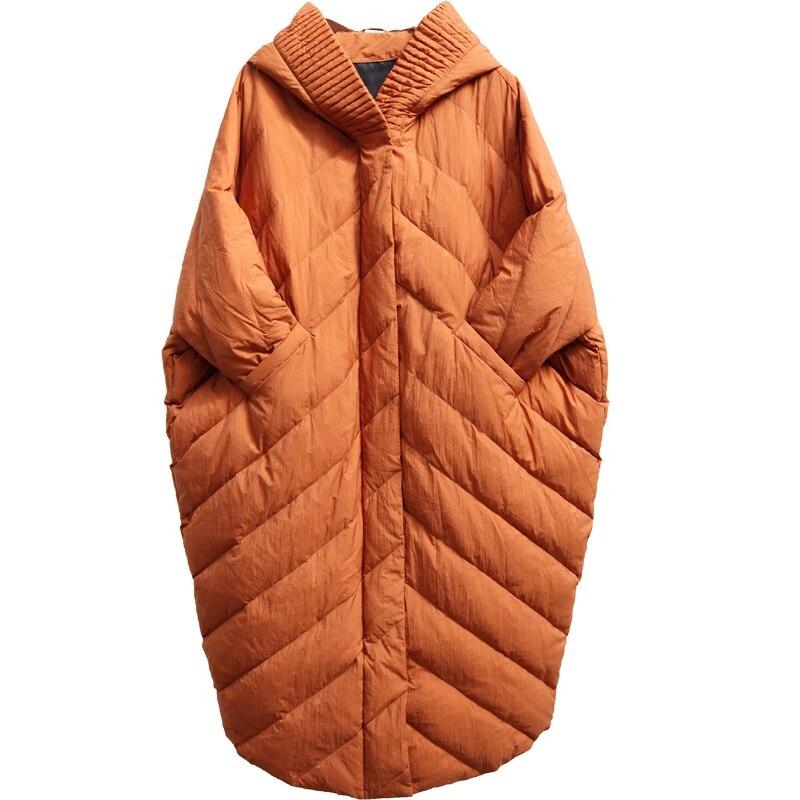 Hiver cocon manteau manches chauve souris mode style lâche et casual tendance femmes super long super grande taille doudoune capuche parkas - 5