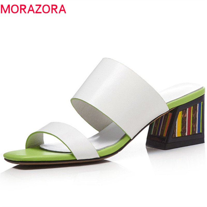 MORAZORA Genuine leather sandals women slip on colorful thick high heels sandals summer outside slippers party wedding shoes MORAZORA Genuine leather sandals women slip on colorful thick high heels sandals summer outside slippers party wedding shoes