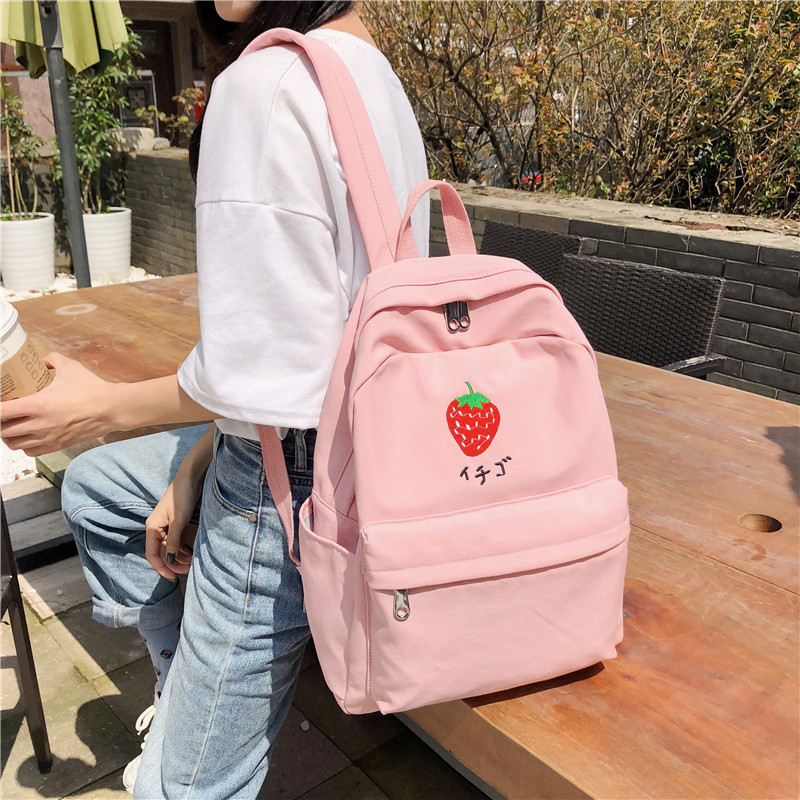 DCIMOR New Fruit Embroidery Women Backpack Little Fresh Waterproof Nylon Solid Color Shoulder Bag Girls'schoolbags For Teenagers