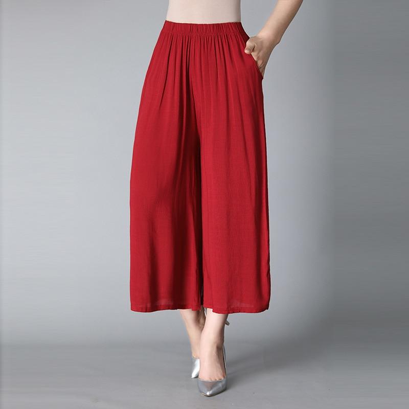 2018 Summer Cotton And Linen Nine Points   Wide     Leg     Pants   Female High Waist Casual Culottes Loose Large Size Linen Big Feet   Pants