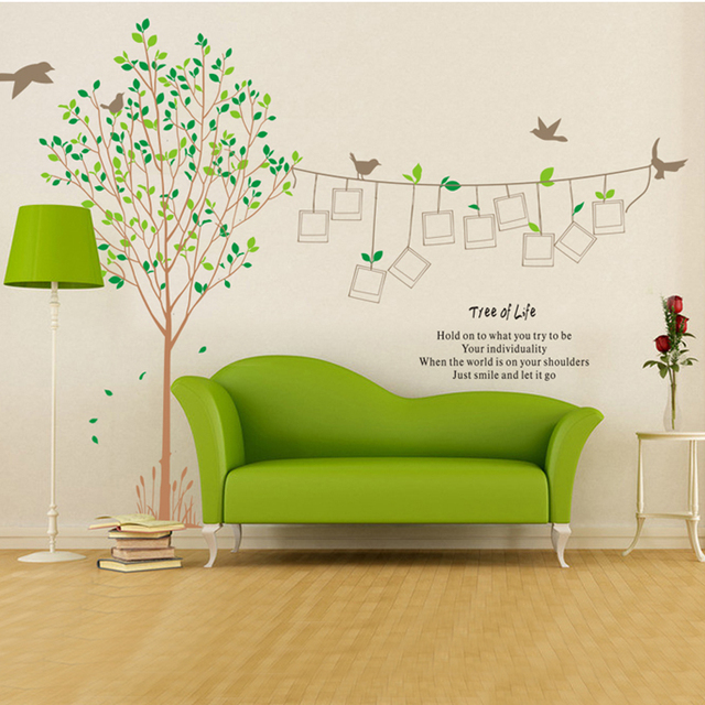 large photo frame tree wall stickers for living room removable family tree wall decals 3d wall  sc 1 st  AliExpress.com & large photo frame tree wall stickers for living room removable ...