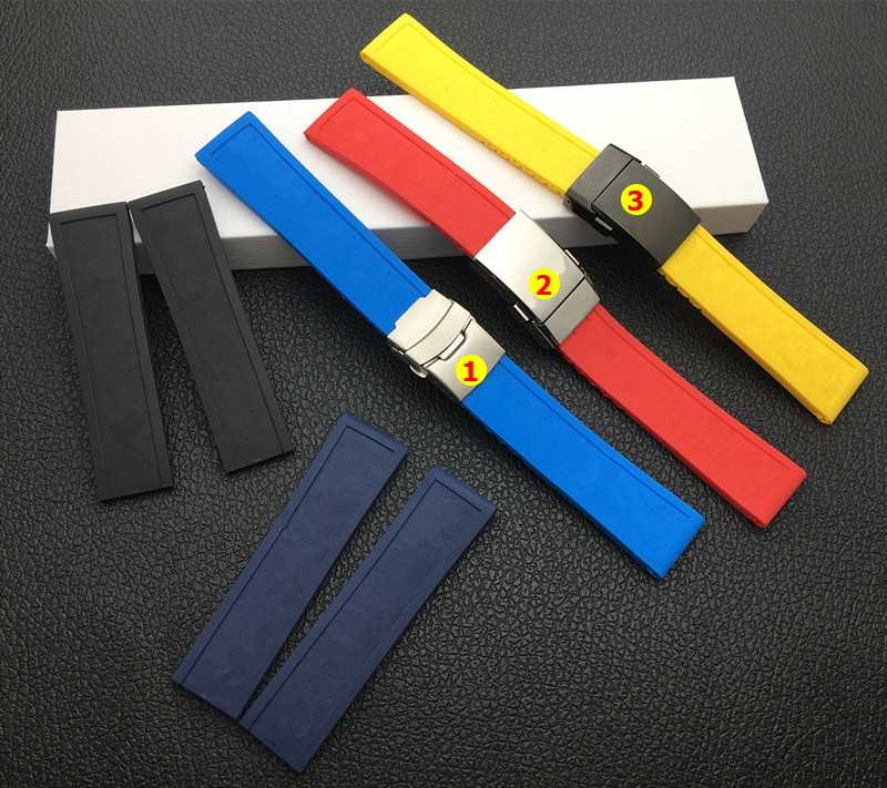 Top quality watchband Silicone Rubber Black Blue Red yellow 22mm 24mm Bracelet For navitimer/avenger/Breitling strap tools