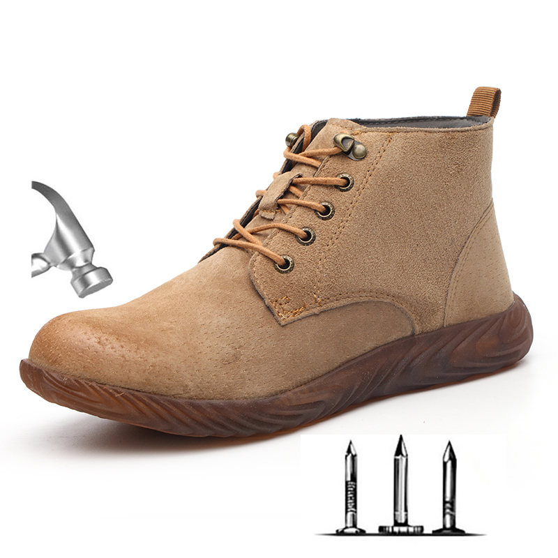 Men's High Top Breathable Suede Steel Toe Anti Smash Protective Work Shoes Boots Men Puncture Proof Safety Shoes