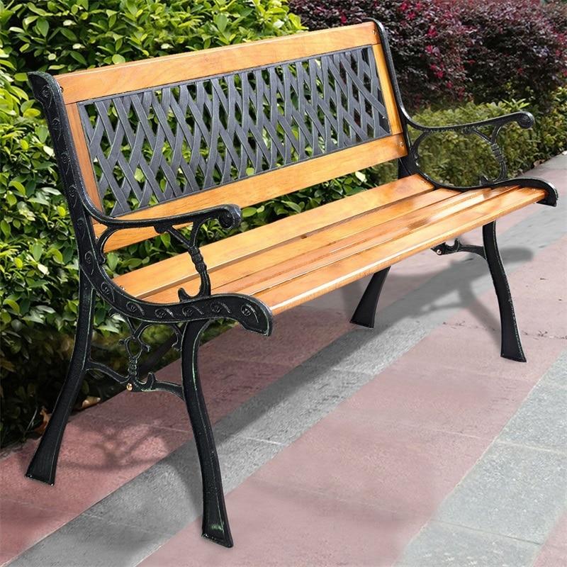 Good Quality Strong Cast Iron Frame Outdoor Patio Bench Smooth Hardwood Slat PVC Mesh Lattice Design Backrest Chair OP2783