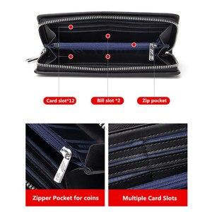 Image 4 - BISON DENIM cartera larga de cuero genuino para hombre, bolso de mano, billetera de piel de vaca, monedero, billetera de negocios N8008