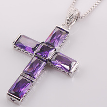 Party Cross Purple Crystal Zircon 925 Sterling Silver Fashion Jewelry Pendant TE425
