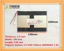 7.4V 6000mAH Li-ion( Polymer lithiumion) battery for GPS, Aoson M19, M19 3G Tablet PC 3.5*100*140mm