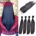 Straight Hair With Closure Cheap Peruvian Virgin Hair With Closure 4 Bundles With Closure Alionly Remy Human Hair With Closure