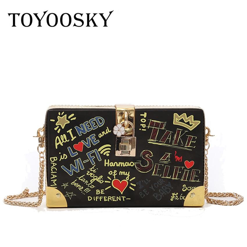d6fd2cf90b7c Detail Feedback Questions about TOYOOSKY Fashion Handbag Women Evening  Party Shoulder Bags Lock Letter Graffiti Crossbody Bag Ladies Hard Case Box  Clutch ...